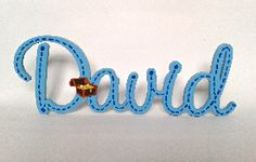 David painted sky blue with royal blue stitch detail, wooden name. Cursive Words, Wooden Names, Pirate Treasure, Royal Blue, Typography, Beaded Bracelets, David, Sky, Stitch