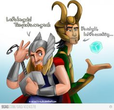 Miguel and Tulio (The Road to El Dorado) being Thor and Loki. Love it!