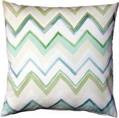 The Pacifico Stripes Green Throw Pillow features the classic chevron pattern in pastel shades of greens and blues.