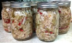 Pickled Cabbage with Sweet Peppers and Garlic I head Cabbage, 8 peppers, 4.5 cups vinegar, 3 cups sugar (wondering if I can substitute brown sugar and/or raw honey to make it healthier:)? mustard seeds, pepper flakes, garlic. YUM.