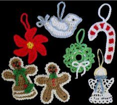 Homemade Christmas tree ornaments give your home a comfortable and country feel during the holiday season. The spirited Christmas Ornaments Set 1 Pattern features seven delightful ornaments that will look magical hanging on your Christmas tree or attached to a special gift. Each ornament is made with light worsted weight yarn and easy to follow directions.