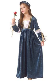This Child Juliet Costume is a great choice for Halloween or for a Romeo and Juliet play. She can become a famous Shakespearean character!