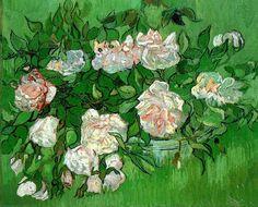 """Pink Roses"", óleo sobre lienzo, 32,0 x 40,5 cm, junio de 1890.   Ny Carlsberg Glyptotek, Copenhague, Dinamarca."