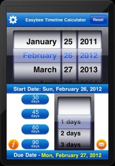 The Easybee Timeline Calculator ($0.99) best app on the market for calculating due dates & deadlines. Its functionality is fast, easy, and accurate. Developed specifically for Special Education staff because of the constant pressure they are under to meet state mandated timelines. On a daily basis, Special Education professionals are counting 30, 45, 60, and even 90 calendar days to determine due dates. Beyond counting calendar days, you can completely tailor it to fit your needs & schedule.
