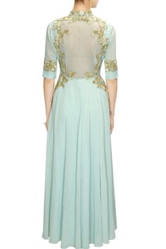 Featuring a powder blue high low kalidaar kurta in georgette with zipper in centre and zari, tikki and resham floral embroidered panel. This powder blue anarkal