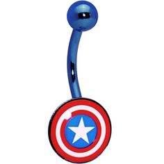 Anodized Captain American Belly Ring | Body Candy Body Jewelry #bodycandy $14.99
