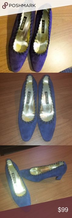"Vintage Escada Blue Heels Vintage Escada Blue Suede Heels. Made in Italy. Excellent used condition. Has a little wear on bottoms but still a lot of life left. Perfect for any fan of vintage heels. 2.5"" Heel. Reasonable offers will be considered. Escada Shoes Heels"