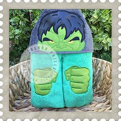 Angry Green Hero hooded towel design. #Embroidery #Applique