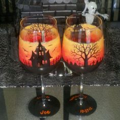Haunted Halloween hand painted wine glasses by GlassesbyJoAnne, $50.00