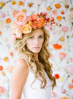 Sometimes you just gotta go big...Tangerine floral crown #hairstyles #flowercrown #boho