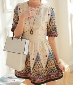 Ruffled Scoop Neck Printed Beam Waist Short Sleeve Ladylike Dress For Women