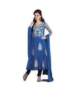 Blue Embroidered Salwar Suit  To know more or buy, please click Below:- http://www.ethnicstation.com/blue-embroidered-salwar-suit-ro1056  #EmbroideredSalwar Suit #onlineDiscount