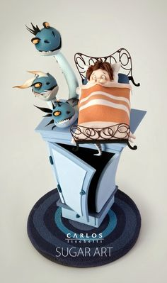 Topper by Carlos Lischetti - There is a monster under my bed! / Hay un monstruo debajo de mi cama! Crazy Cakes, Fancy Cakes, Fondant Figures, Fondant Cakes, Cupcake Cakes, Unique Cakes, Creative Cakes, Gorgeous Cakes, Amazing Cakes