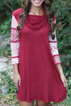 Geometric Print 3/4 Sleeves Heaps Collar Dress