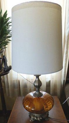 Vintage 1971 L LWMC Amber Bubble Globe Lamp w Lighted Base Top Retro Funky | eBay
