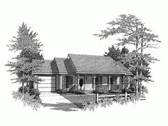 Country Style 1 story 3 bedrooms(s) House Plan with 1120 total square feet and 2 Full Bathroom(s) from Dream Home Source House Plans
