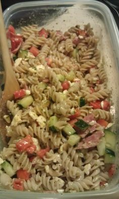 Low Fodmap Greek Pasta Salad.  Made with Rice Pasta so it's safe for Gluten Free people, too.