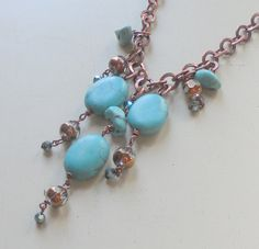 Princess length crystal copper and turquoise