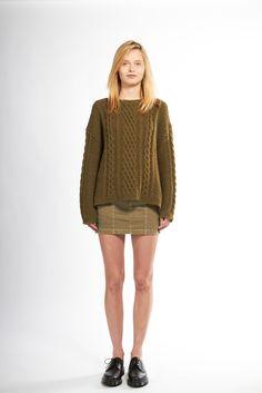 Nili Lotan | Resort 2015 | 04 Green knit long sleeve sweater and green denim mini skirt