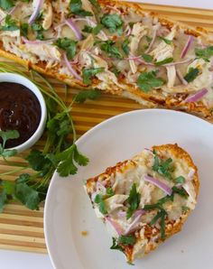 BBQ Chicken French Bread Pizza is 6 ingredients and 10 minutes to dinner! Family fave!  from www.whatscookingwithruthie.com #recipes #chicken #pizza