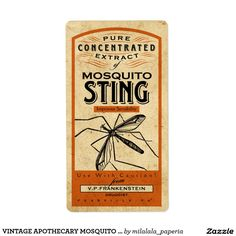 VINTAGE APOTHECARY MOSQUITO STING | LABEL