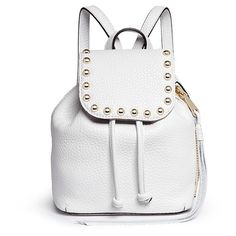 Rebecca Minkoff Micro stud flap leather backpack ($345) ❤ liked on Polyvore featuring bags, backpacks, white, white bucket bag, bucket bag, white backpack, fringe backpack and leather studded backpack