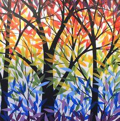 Arte de pintura arco iris paisaje Original por AmyGiacomelli