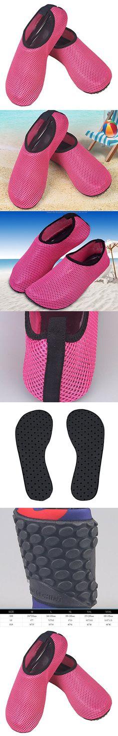 Unisex Mesh Anti-slip Soft Sole Water Skin Shoes Aqua Socks for Pool Beach Swim Surf Yoga Diving Pink