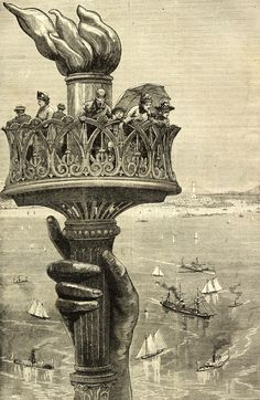 A wood engraving of, American Gilded Age tourist standing in the torch of the Statue of Liberty, New York Harbor, late ~ {cwl} ~ (Image: Granger) Statute Of Liberty, Liberty Statue, Monuments, Cleveland, Scenic Photography, Office Art, Wood Engraving, Gravure, Historical Photos