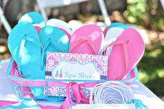 Spa shoes, which would be a cute addition to the at-home spa party. How fun if everyone was wearing their spa-shoes with freshly painted toe-sies Spa Day Party, Kids Spa Party, Spa Birthday Parties, Pamper Party, Sleepover Party, Slumber Parties, Party Time, Pajama Party, Girl Birthday