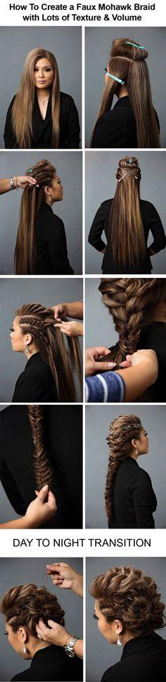 nice Day to Night Hairstyle | Mohawk Braid into Fishtail Bun... by http://www.danaz-haircuts.xyz/hair-tutorials/day-to-night-hairstyle-mohawk-braid-into-fishtail-bun-2/