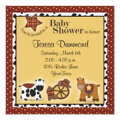 Cowboy or Cowgirl Baby Shower Invitation