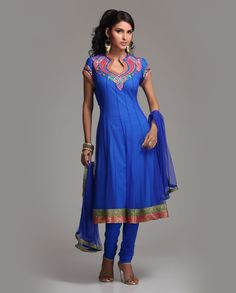 Embroidered royal blue Net Anarkali  Rs.7,980