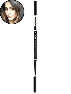 "NYX Cosmetics Micro Brow Pencil ""It's hard to go overboard with this pencil, since the tip is really, really skinny, and the formula isn't too soft,"" says associate research editor Shyema Azam, who uses a chocolate shade (there are eight colors to choose from) to match her dark-brown hair. ""I like to do little check-marked lines along the bottom of my brows to bulk up sparse patches, and then soften the lines with the spooley brush on the other side."""