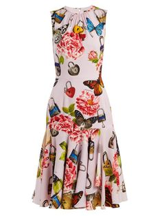 Dolce & Gabbana Butterfly and padlock-print stretch-silk dress Flowery Dresses, Simple Dresses, Pretty Dresses, Beautiful Dresses, Casual Dresses, Summer Dresses, Dress Outfits, Fashion Dresses, African American Fashion