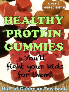 These yummy gummies are protein packed and are super easy to make. They only have 3 ingredients, one of which is a SUPERFOOD! I promise you, you and your kids will be fighting over these suckers! OMG YUM! Follow Half of Gabby on Facebook to help guide you throughout your weight loss! Daily motivation, recipes, workouts, weight loss tips, and more!