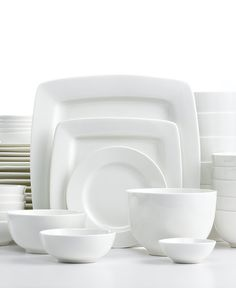 White Elements Cressida Square 42-Piece Set Service for 6 - Casual Dinnerware - Dining u0026 Entertaining - Macyu0027s  sc 1 st  Pinterest & Corelle Vivid White Square dinnerware. Ultra-sturdy plates bowls ...