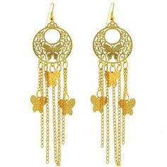 Gold Tone Butterfly Chandelier Dangle Earring