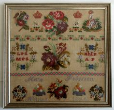 19th Century European Sampler Stitched By Melle Pederson & Dated 1874