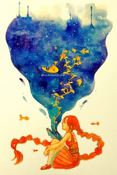 ".""The Seed of Imagination"" by Qinni.  I found her on Tumblr yesterday and I love her use of watercolors! You don't see much use of trad'l media these days- it's mostly digital."
