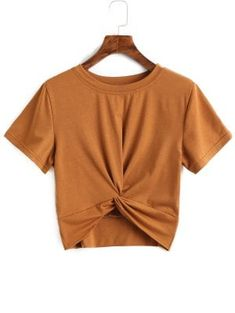 Cotton Twist Cropped Top - Brown S