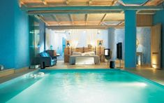 Bedroom With A Pool In The Mykonos Blu Resort