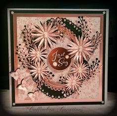 """7"""" card made using dies by Spellbinders, Sue Wilson Creative Expressions, Craftwork Cards Sentiment, DoCrafts Papermania pink background"""
