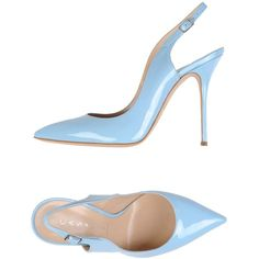 Casadei Pump (4.835.160 IDR) ❤ liked on Polyvore featuring shoes, pumps, sky blue, stiletto heel pumps, stilettos shoes, slingback pumps, leather slingback shoes and leather shoes