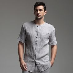 Oriental Style Scoop Neck Short Sleeve Flax Blouse - Gray - Chinese Shirts & Blouses - Men