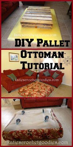DIY Pallet Ottoman Tutorial ---> http://www.katiescrochetgoodies.com/2013/08/diy-pallet-ottoman-tutorial.html