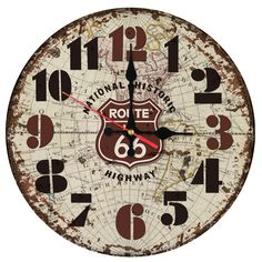 400 best round wooden clock images on pinterest wall clocks wall yung jo vintage rustic shabby chic styleroute 66 road sign and world map pattern arabic numerals design wooden round decorative wall clock route gumiabroncs Images
