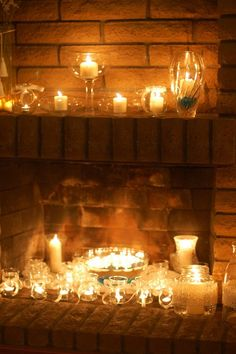 Amazing Idea Candles In The Fireplace.