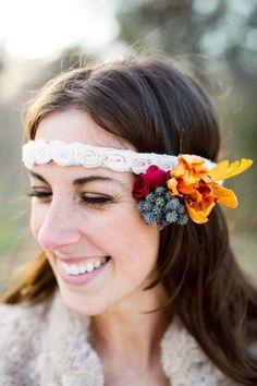 Fall floral headband. Photography by Charla Storey Photography / charlastorey.com, Floral Design by Kate Foley Designs / katefoleydesigns.com