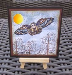 Art Journey Design-team: Owl by night Branches, Owls, Stamps, Journey, Sparkle, Night, Frame, Artwork, Fun